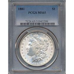 1881 $1 Morgan Silver Dollar Coin PCGS MS65