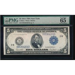 1914 $5 New York Federal Reserve Note PMG 65EPQ