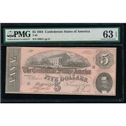 1864 $5 Confederate States of America Note PMG 63EPQ