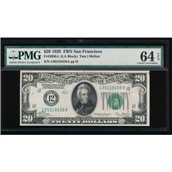 1928 $20 San Francisco Federal Reserve Note PMG 64EPQ