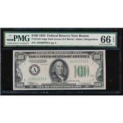 1934 $100 Boston Federal Reserve Note PMG 66EPQ