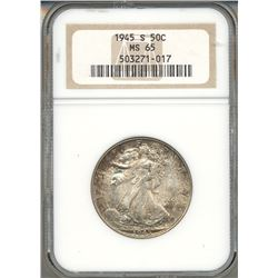 1945-S Walking Liberty Half Dollar Coin NGC MS65