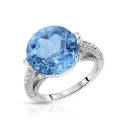 18KT White Gold 11.62ct Blue Topaz and Diamond Ring