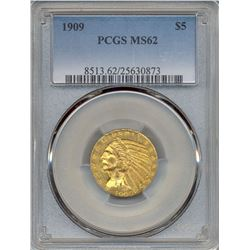 1909 $5 Indian Head Half Eagle Gold Coin PCGS MS62