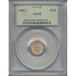 1852 Star Three Cent Coin PCGS AU58