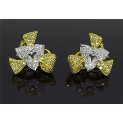 18KT Yellow and White Gold 1.50Ctw Diamond Earrings