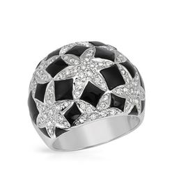 18KT White Gold 17.50ctw Onyx and Diamond Ring