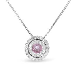 14KT White Gold 0.23ct Pink Sapphire and Diamond Pendant with Chain