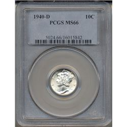1940-D Mercury Dime Coin PCGS MS66