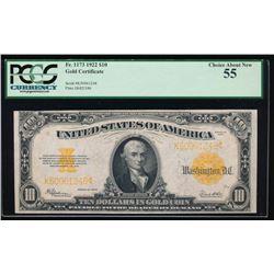 1922 $10 Gold Certificate PCGS 55