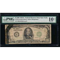 1934 $1000 New York Federal Reserve Note PMG 10NET