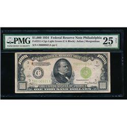 1934 $1000 Philadelphia Federal Reserve Note PMG 25NET