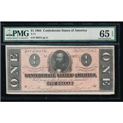 1864 $1 Confederate States of America Note PCGS 65EPQ