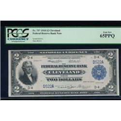 1918 $2 Cleveland Federal Reserve Bank Note PCGS 65PPQ