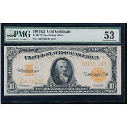 1922 $10 Gold Certificate PMG 53