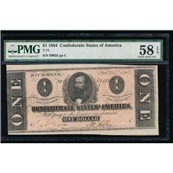 1864 $1 Confederate States of America Note PCGS 58EPQ