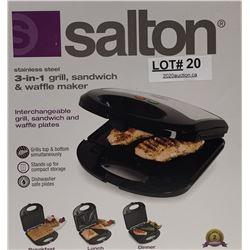 SALTON 3IN1 GRILL/SANDWICH/WAFFLE MAKER
