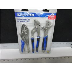 New Mastercraft 3 piece Pliers and Wrench set