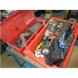 Mastercraft Toolbox and Red Bin full of Assorted Tools
