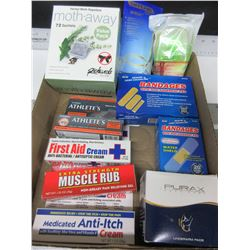 Flat of New Assorted Items / First aid / Underarm Pads / Moth away & more
