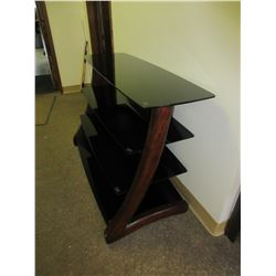 4 Shelf Wood and Glass TV Entertainment Unit / glass has some scrathes