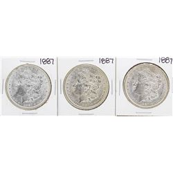 Lot of (3) 1887 $1 Morgan Silver Dollar Coins