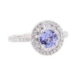 2.41 ctw Sapphire And Diamond Ring - 14KT White Gold