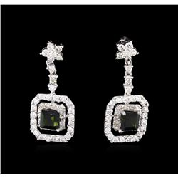 0.85 ctw Green Tourmaline and Diamond Earrings - 14KT White Gold