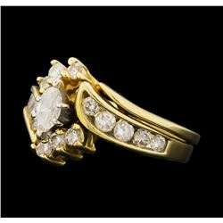 1.14 ctw Diamond Ring & Wedding Band - 14KT Yellow Gold