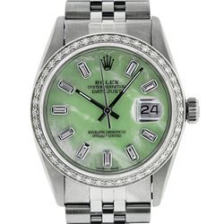 Rolex Mens Stainless Steel Green MOP Baguette Diamond & Emerald 36MM Datejust Wr