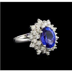 3.50 ctw Tanzanite and Diamond Ring - 14KT White Gold