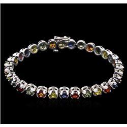 11.30 ctw Multi Color Sapphire Bracelet - 14KT White Gold