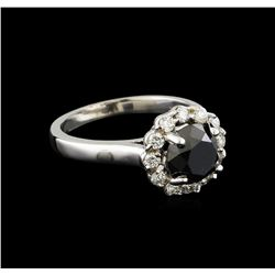 2.86 ctw Black Diamond Ring - 14KT White Gold