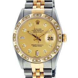 Rolex Mens 2 Tone 14K Champagne Diamond Pyramid Bezel Datejust Wristwatch
