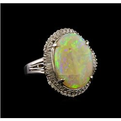 6.02 ctw Opal and Diamond Ring - Platinum