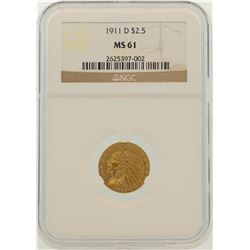 1911-D $2.5 Indian Head Quarter Eagle Gold Coin NGC MS61