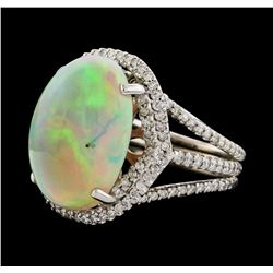 11.85 ctw Opal and Diamond Ring - 14KT White Gold