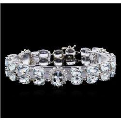 40.00 ctw Aquamarine and Diamond Bracelet - 14KT White Gold