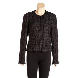 Chanel Black Metallic Sheen Tweed Zip Front Jacket