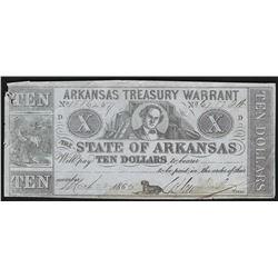 1862 $10 State of Arkansas Treasury Warrant Note
