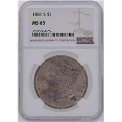 1881-S $1 Morgan Silver Dollar Coin NGC MS65 Amazing Toning