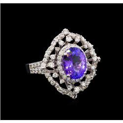 14KT White Gold 4.04 ctw Tanzanite and Diamond Ring