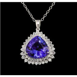 GIA Cert 18.48 ctw Tanzanite and Diamond Pendant With Chain - 14KT White Gold