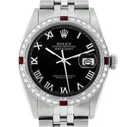 Rolex Mens Stainless Steel Silver Black Roman Diamond & Ruby Datejust Wristwatch