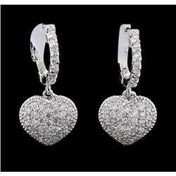 1.03 ctw Diamond Earrings - 14KT White Gold