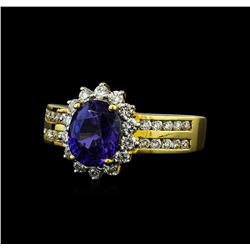 2.65 ctw Sapphire and Diamond Ring - 18KT Yellow Gold