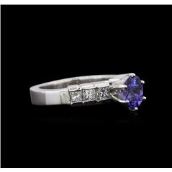 1.00 ctw Tanzanite and Diamond Ring - Platinum