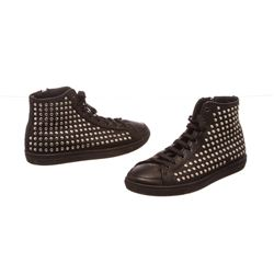 Burberry Black Leather Lace Front Studded High Top Sneakers