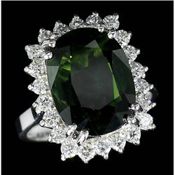 9.75 ctw Green Sapphire and Diamond Ring - 14KT White Gold