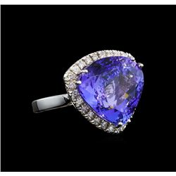 GIA Cert 16.55 ctw Tanzanite and Diamond Ring - 14KT White Gold